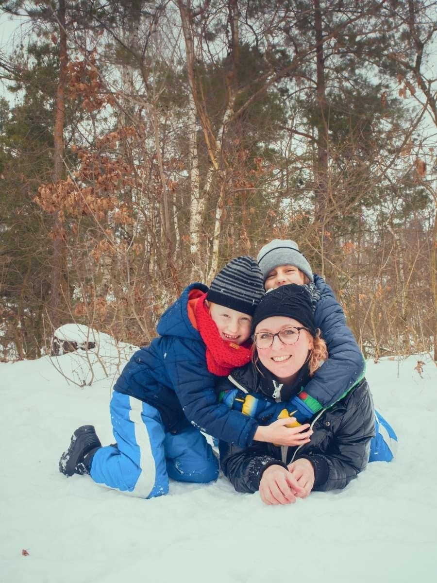 Zimní focení v lese fotografka